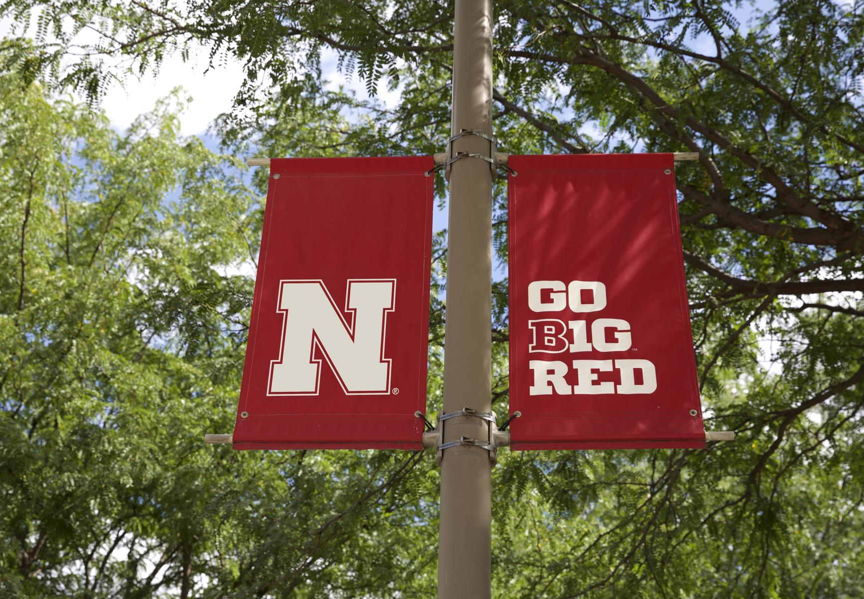 N banners hanging on campus