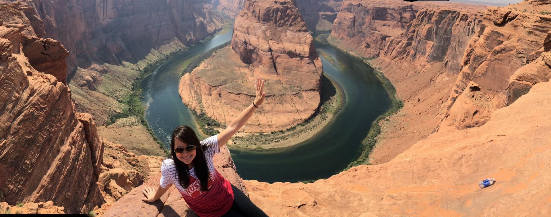 BSMP student, Cecilia Beatriz Nascimento Lima at the Horseshoe Bend at Lake Powell during the summer road trip.