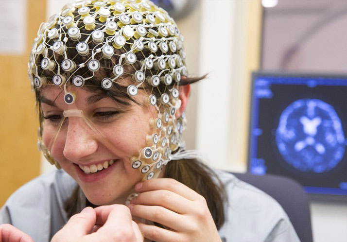 Subject with sensors on head