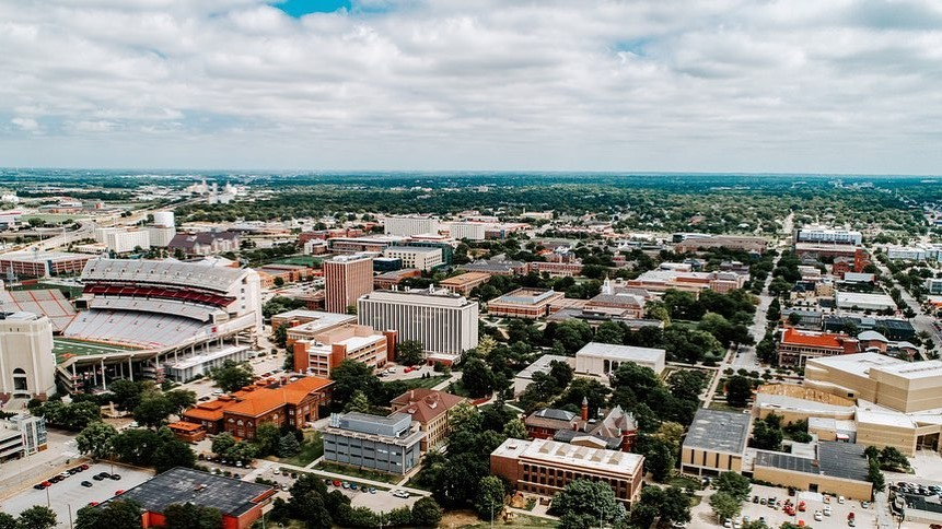 Drone shot of the University of Nebraska-Lincoln
