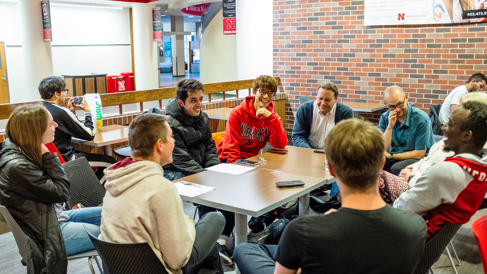 Students meet Nov. 18 during one of the twice-weekly Coffee Talks at the University of Nebraska–Lincoln's Nebraska Union. Coffee Talks bring together domestic and international students for conversations on campus life, culture and more.
