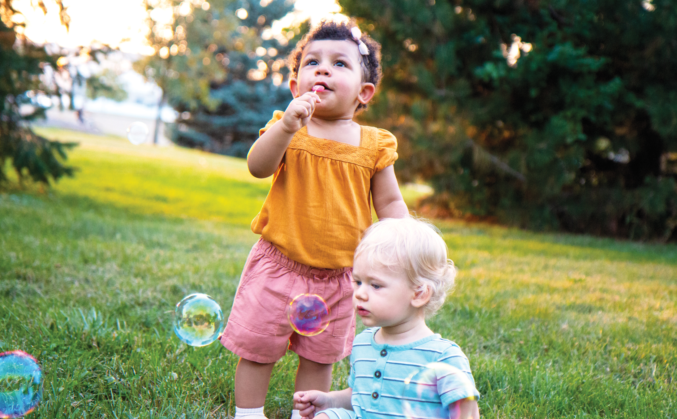 early childhood blowing bubbles