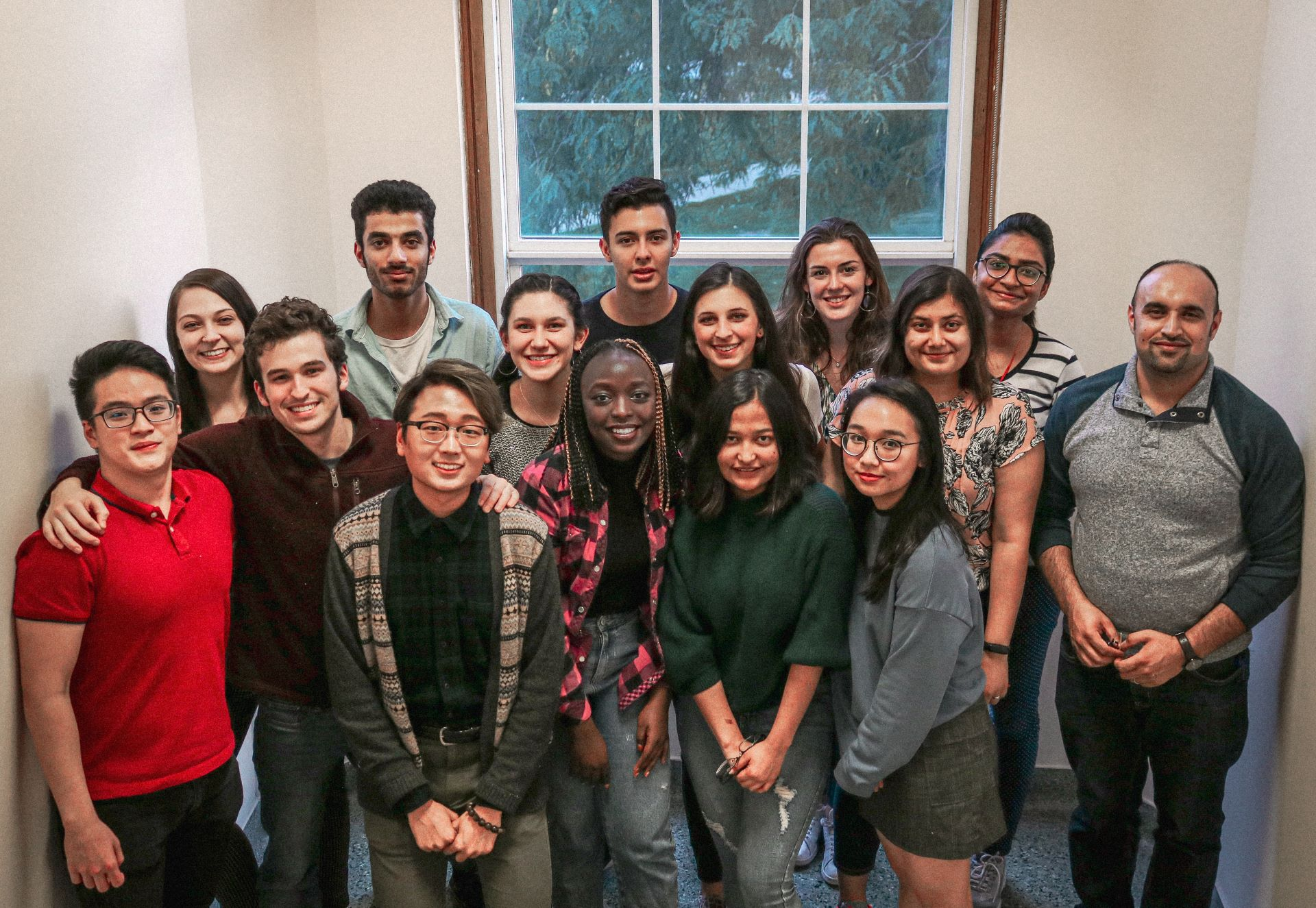 The 2019-20 Global Peer Assistant team is made up of 15 domestic and international students from around the world to help build connections on campus for new international students. Junior Linh Tran is pictured at the bottom right.