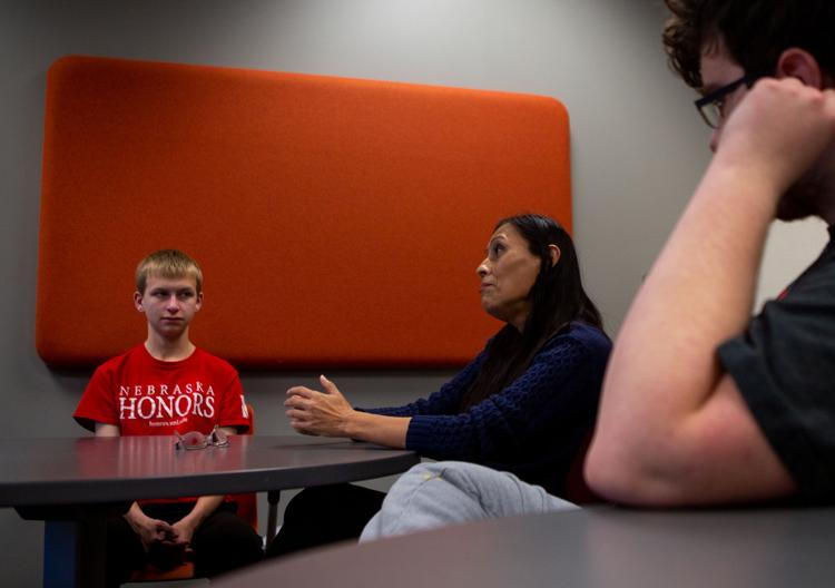 A Spanish conversation table practices their speaking skills at the Language Lab Lounge in Burnett Hall on Wednesday, Dec. 4, 2019, in Lincoln, Nebraska.