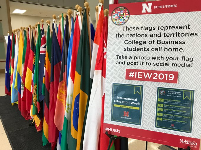 The flags in the atrium this week represent all the nations and territories business students call home.