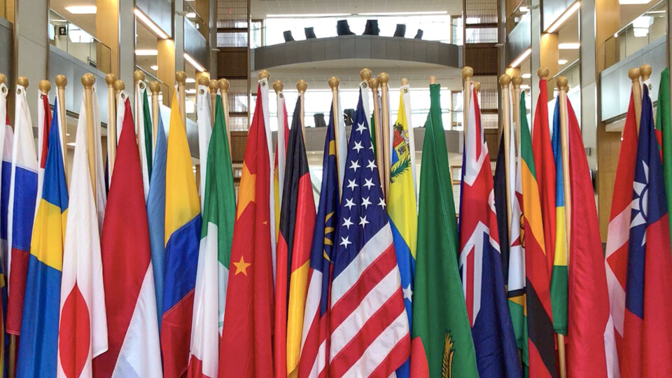 Flag display at the College of Business