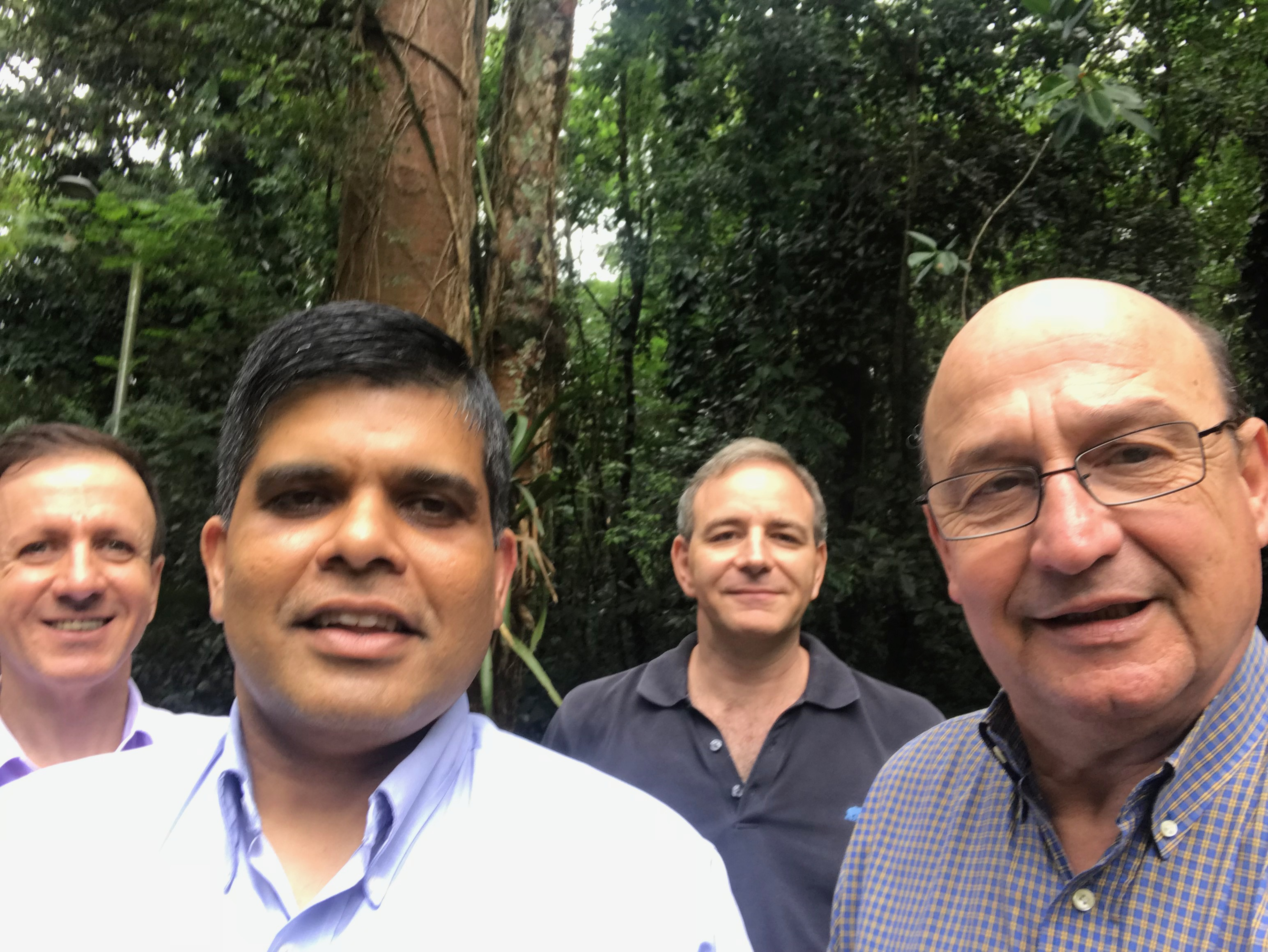 Nebraska's Dr. Sudeep Banerjee (front left) will conduct laser-particle acceleration research with Dr. Nilson Vieira (right) of IPEN in São Paulo, Brazil under a new SPRINT award.