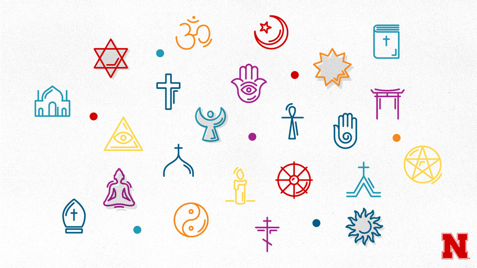Icons of different religious symbols of various faiths