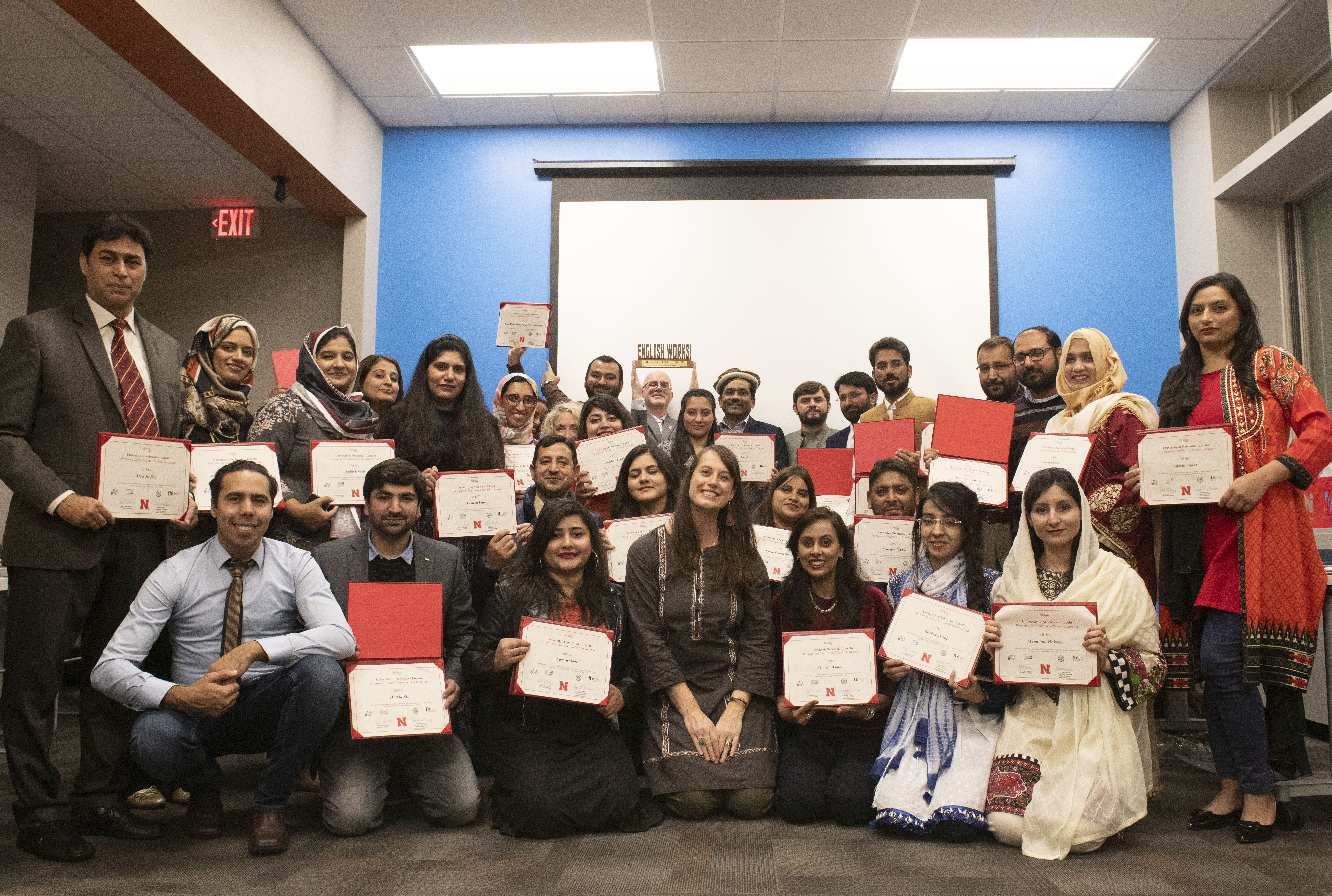 The Pakistani scholars from Nebraska's English Works! Program celebrate the completion of their two-week program at UNL.