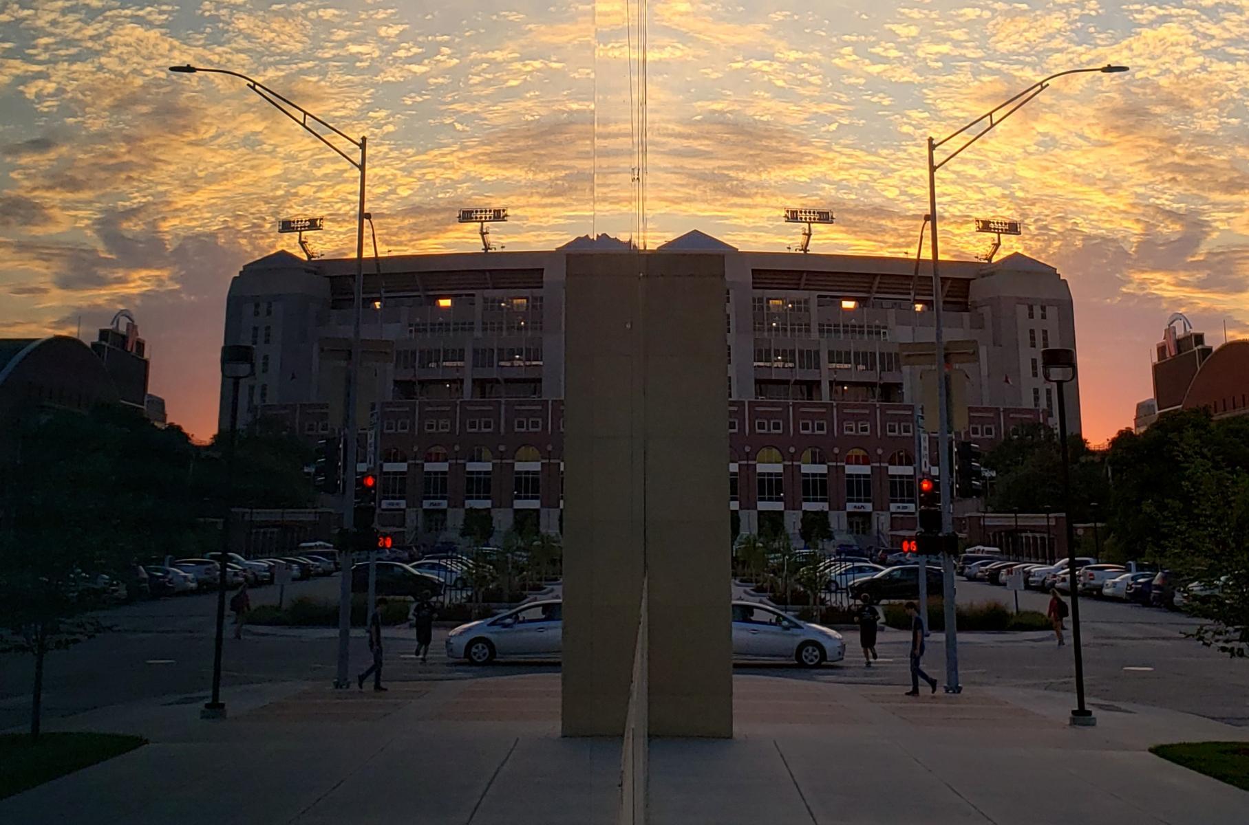 Sunset at Memorial Stadium on UNL campus