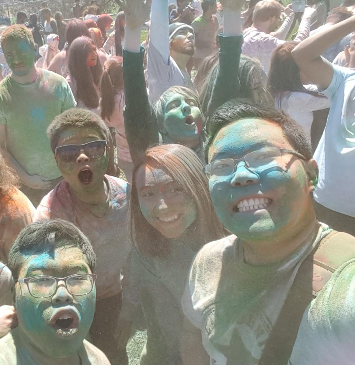Chris participating in the Holi celebrations at UNL