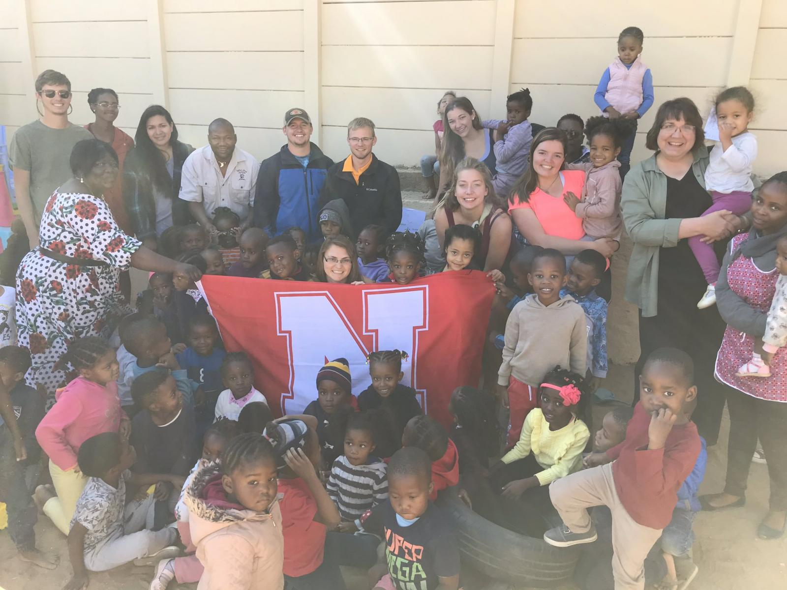 Our wildlife conservation students visit a preschool where Kelly worked during our  @FulbrightPrgrm  year in Namibia.