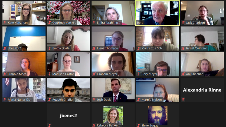 A Zoom screenshot of 20 UNL students attending the guest lecture by former Irish Prime Minister, Berti Ahern.